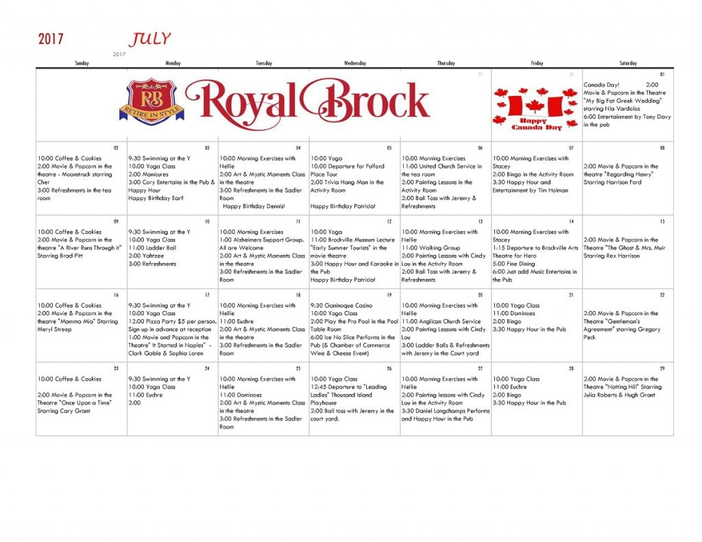 July Calendar | Royal Brock: Brockville Retirement Residence