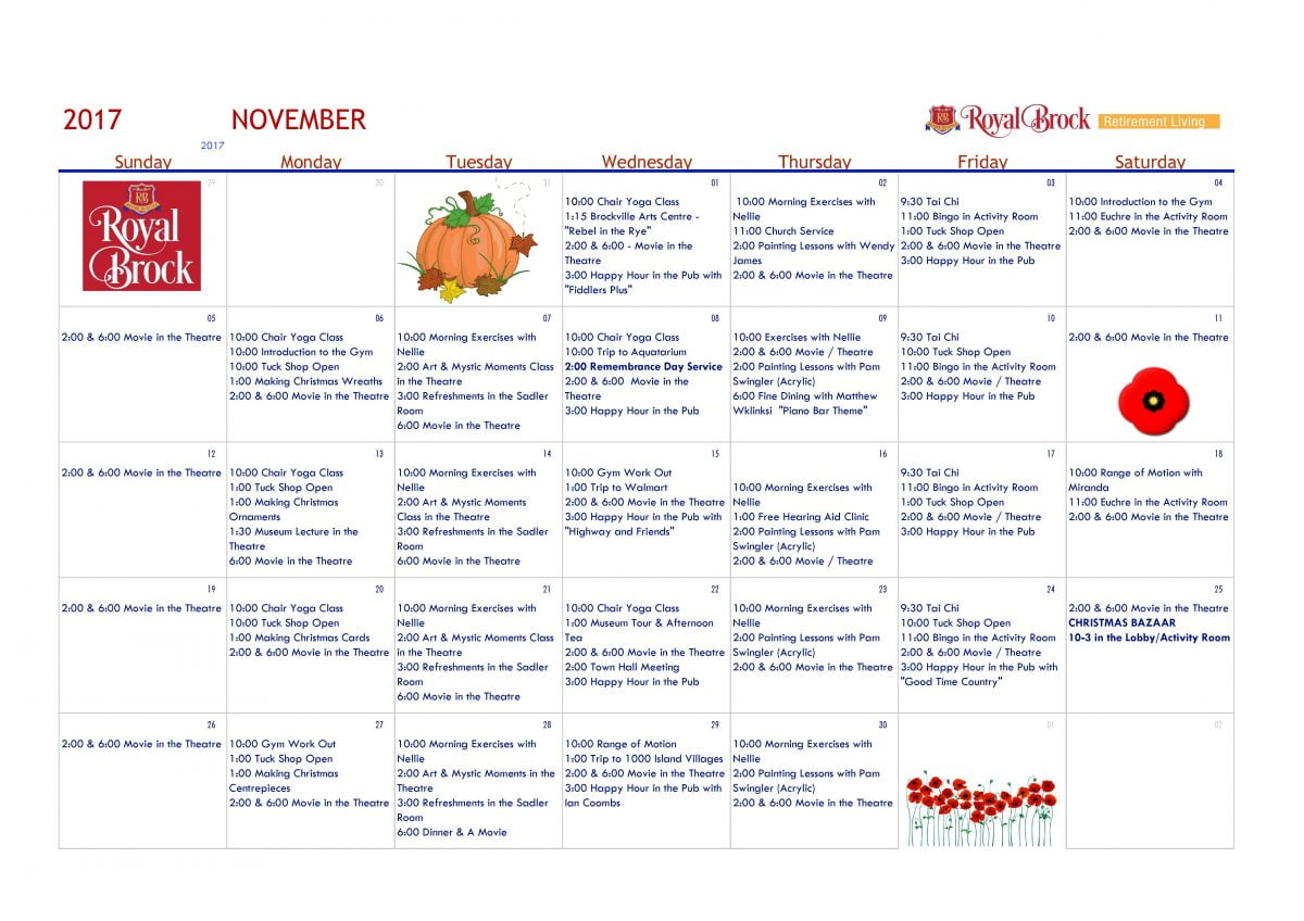 November 2017 Activity Calendar | Royal Brock: Brockville Retirement ...