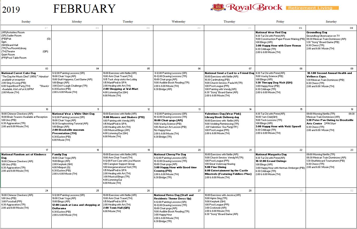 February 2019 Calendar With Ar February 2019 Activities Calendar   Royal Brock: Brockville